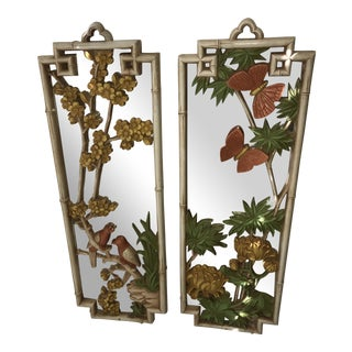 Mid-Century Mirrored Asian Influenced Panels - A Pair