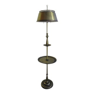 Brass Floor Lamp With Metal Side Table