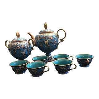 Cloisonné Blue & Dove Motif Tea Set - Set of 8