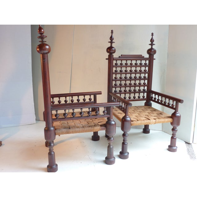 Indian Turned Rosewood Chairs - A Pair - Image 4 of 4
