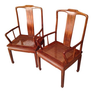 Henredon Asian Cane Dining Arm Chairs - Pair