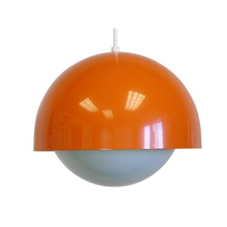 Orange Dome Mid-Century Pendant Lamp, New Old Stock