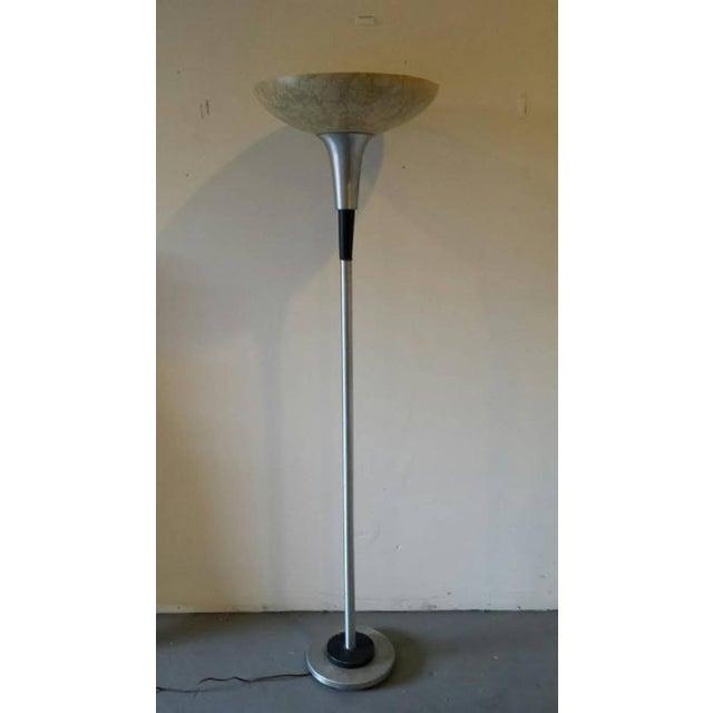 Melrose Mid Century Brass White Shade Floor Lamp: Mid-Century Metal Floor Lamp