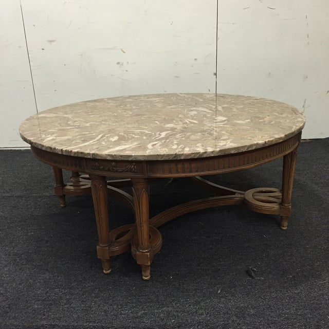 Circular Marble Top Coffee Tables: Round Gray Marble Top Coffee Table