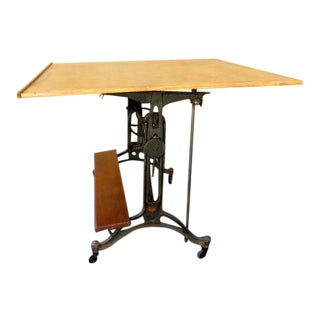Vintage Large Industrial Style Drafting Table