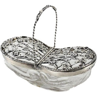 1908 William Comyns London Sterling Silver Mounted Pot Pourri Basket