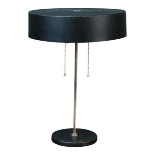 Brown Mid-Century Modern Table Lamp with Round Metal Shade, circa 1960