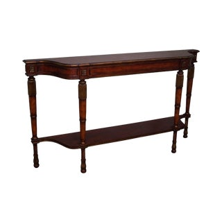 Quality Regency Style Partial Gilt Accent Long Narrow Console Table
