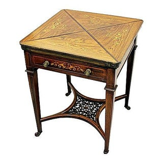 Inlaid Rosewood Napkin Game Table