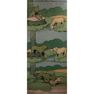 1890s Vintage French Wolf and Lamb Poster