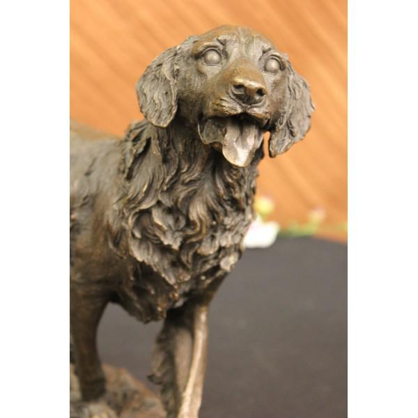 Golden Retriever Bronze Sculpture on Marble Base Figurine - Image 5 of 6