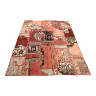 Turkish Vintage Patchwork Oushak Rug - 4′10″ × 6′3″