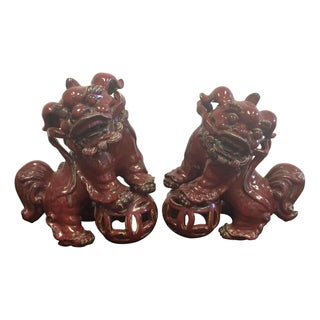 Vintage Red Glazed Foo Dogs - A Pair