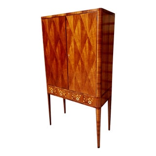 Swedish Inlaid Storage Cabinet In Walnut and Rosewood, Circa 1940