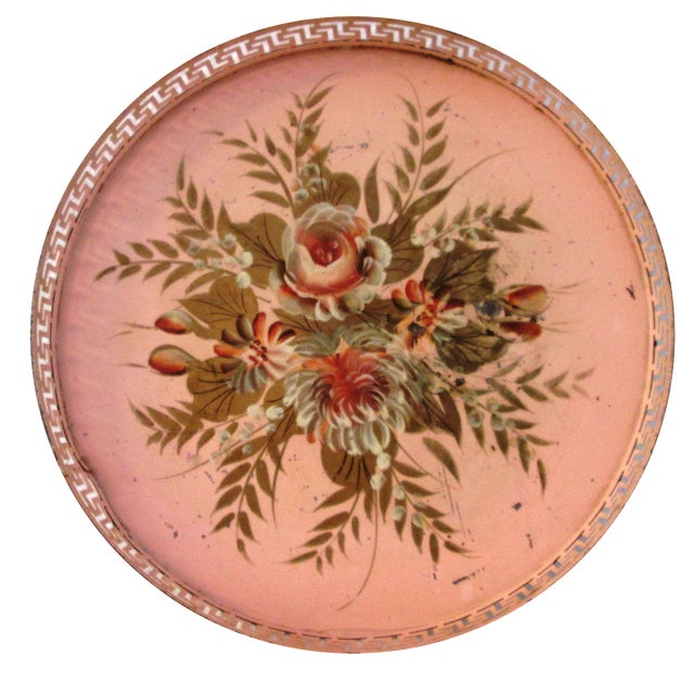 Vintage Tole Painted Pink Greek Key Tray - Image 1 of 7