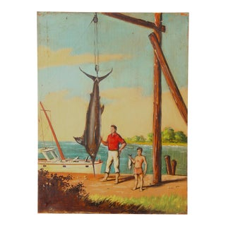 """""""Great Catch"""" Oil Painting on Board by Melvin O. Miller 1937"""