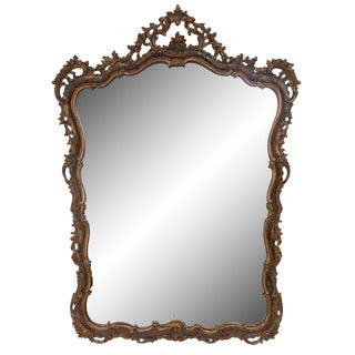 19th Century Italian Carved Walnut Mirror