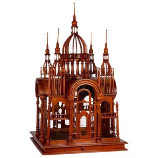 Victorian Style Architectural Mahogany Birdcage