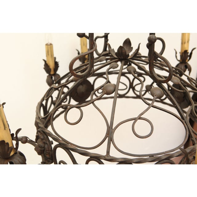 1940's Wrought Iron Chandelier - Image 5 of 8