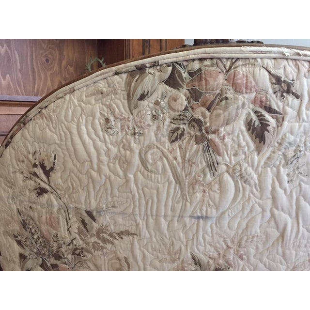 French Country Louis XV Style Carved Walnut Silk Settee & Chair - A Pair - Image 10 of 11
