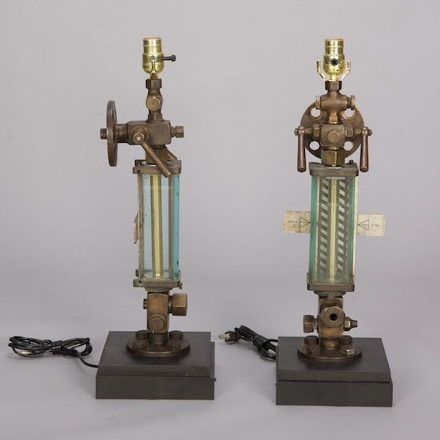 Image of Brass, Glass & Iron Industrial Table Lamps - Pair