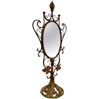 Antique Bronze Art Nouveau Vanity Mirror