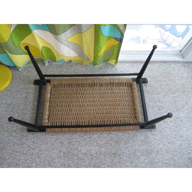 Vintage Mid-Century Modern Woven Rope Ebony Stained Wooden Bench - Image 4 of 7