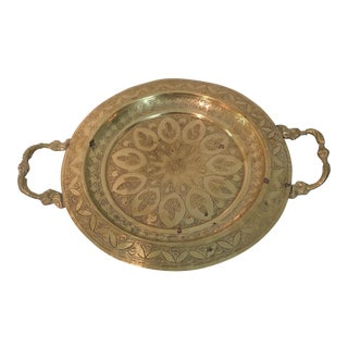 Vintage Footed Brass Tray With Handles