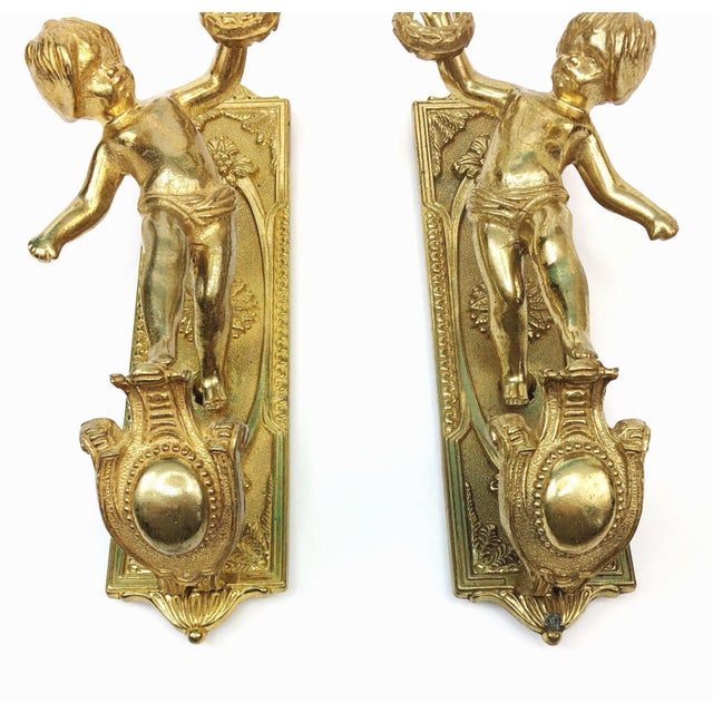 Italian Candle Wall Sconces : Vintage Italian Brass Cherub Candle Wall Sconces - a Pair Chairish