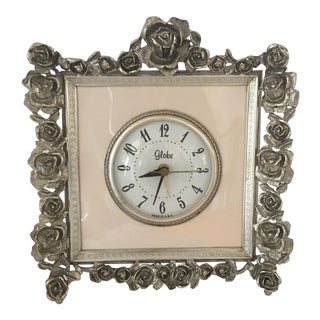 Hollywood Regency Silver Gilt Boudoir Clock