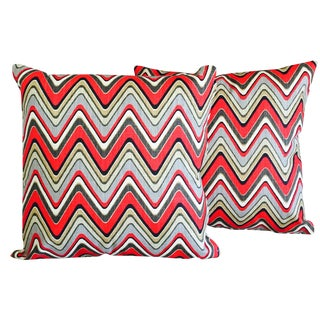 Red & Green Chevron Pillow Covers - A Pair