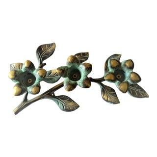 Mid-Century Heavy Weighted Metal Floral Candle Holder