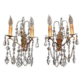 Antique Crystal French Bronze Sconces - A Pair