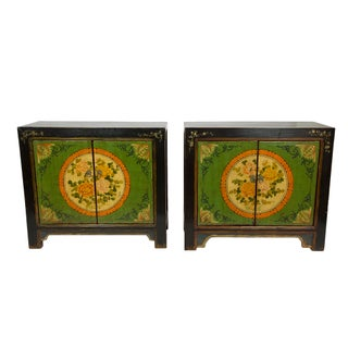 Gansu Style Hand-Painted Floral Cabinets - A Pair