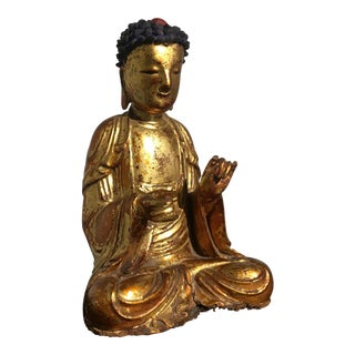 Early 19th Century Lacquered and Gilt Carved Wood Buddha