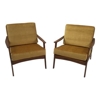 Mid-Century Restored Danish Teak Arm Chairs - A Pair