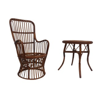 Franco Albini Style Bentwood Rattan Chair And Side Table