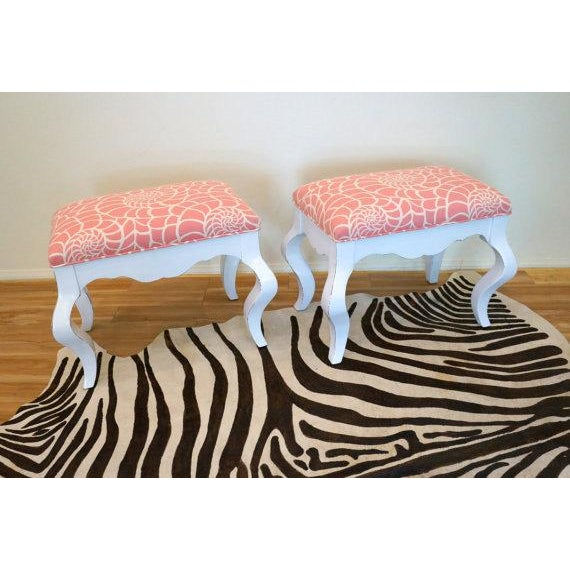 Image of Vintage Coral & White Nautilus Benches - A Pair