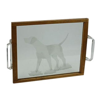 Vintage 1950s Etched Sporting Dog Glass Tray