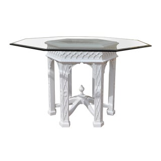 White Lacquered Fretwork Dining Table