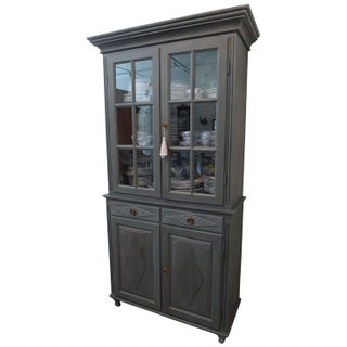 Gustavian Tall China Cabinet - Dark Gray