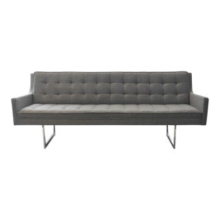 1960s Mid-Century Modern Gray Tufted Sofa