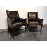 Image of Theodore Alexander Leather Lion Head Chairs - A Pair