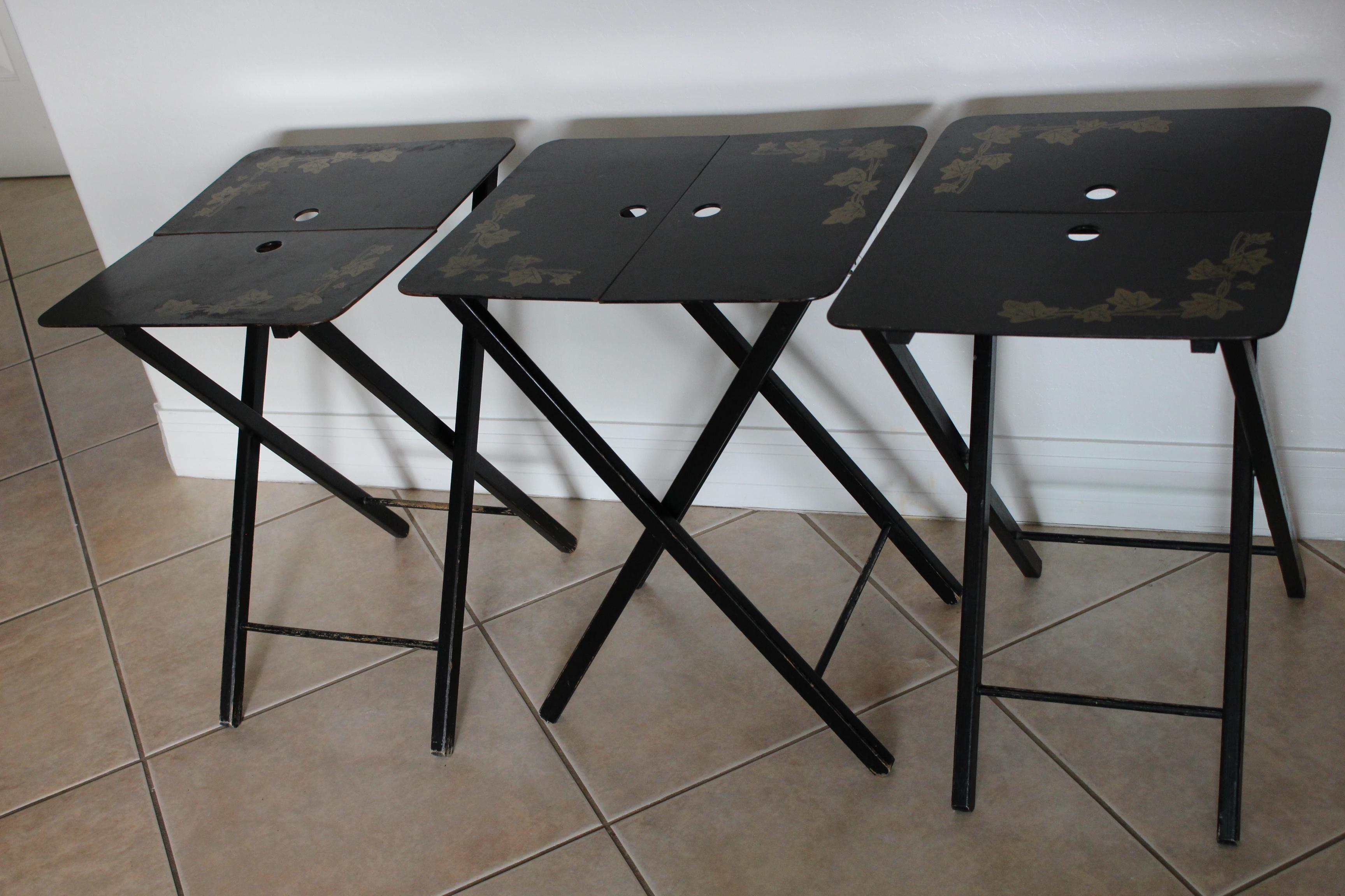 Vintage Woodcract Inc. Black Lacquered Folding Tray Tables   Set Of 3    Image 7
