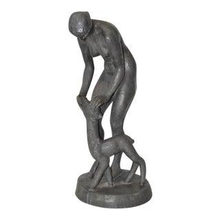 Circa 1910 Art Nouveau Metal Figural Nude with Fawn Sculpture