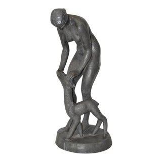 Circa 1910 Art Nouveau Metal Figural Nude with Fawn Sculpture