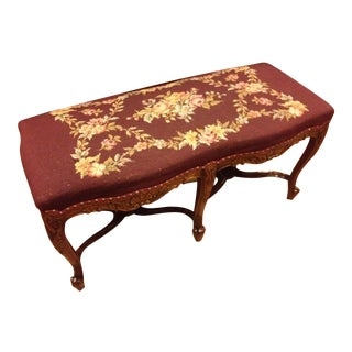 French Louis XVI Hand Carved Needlepoint Piano Bench
