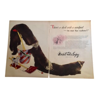 1946 Vintage Marshall Field Fur Salon Ad