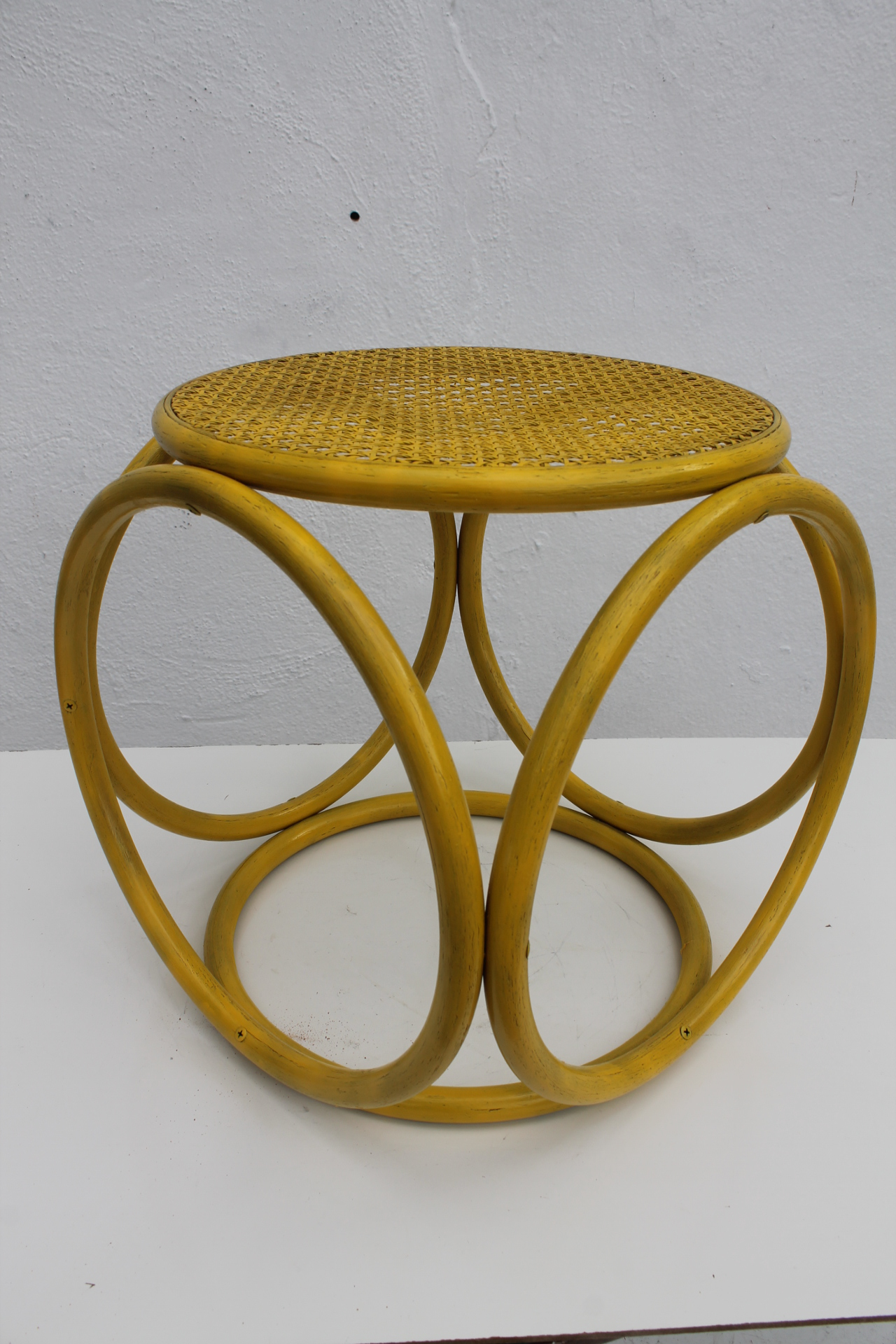 Bentwood U0026 Cane Yellow Painted Stool Side Table In The Style Of Michael  Thonet   Image