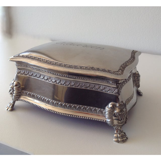Silver Plated Lion-Footed Engraved Keepsake Box - Image 4 of 11